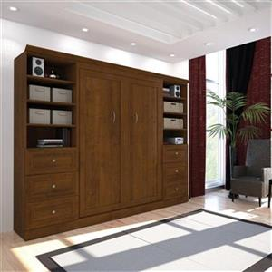 Bestar Versatile Collection 108.60-in x 85-in Tuscany Brown Double Side 25-in 3 Drawer Open Storage Murphy Style Bed