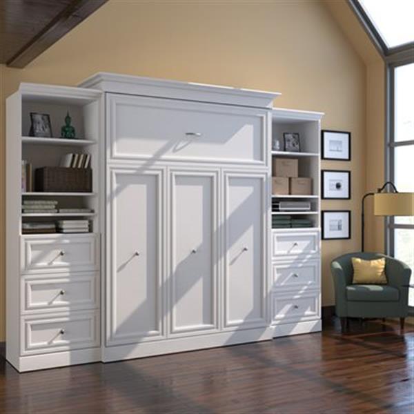 Grand lit escamotable Versatile, deux unités de rangement avec tiroirs, blanc