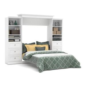 Bestar Versatile Collection Murphy Bed with Open Storage - Queen Bed - White