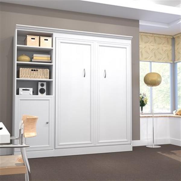 Bestar Versatile Collection 85-in x 83.60-in White Single Side 25-in 1 Door Murphy Style Bed