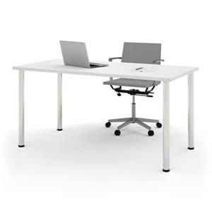 Bestar 29-in x 59.30-in White Round Metal Leg Table