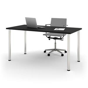 Bestar 29-in x 59.30-in Black Round Metal Leg Table