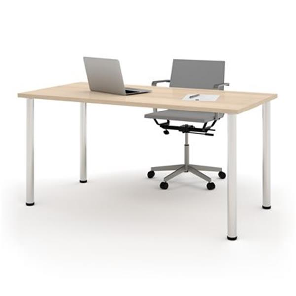 Bestar 29-in x 59.30-in Northern Maple Round Metal Leg Table