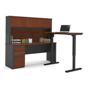 Bestar Prestige 66.90-in x 71.10-in Dark Grey L-Desk and Electric Height Adjustable Table Set