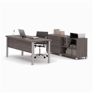 Bestar Pro-Linea 29.90-in x 71.10-in Bark Grey Executive Set