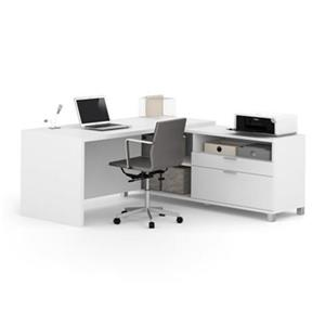 Bestar Pro-Linea 29.90-in x 71.10-in White Return Table 2 Drawer Credenza L-Desk