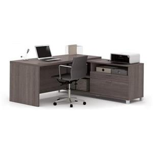 Bestar Pro-Linea 29.90-in x 71.10-in Bark Grey Return Table 2 Drawer Credenza L-Desk