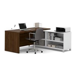 Bestar Pro-Linea 29.90-in x 71.10-in Oak Barrel Return Table Credenza L-Desk