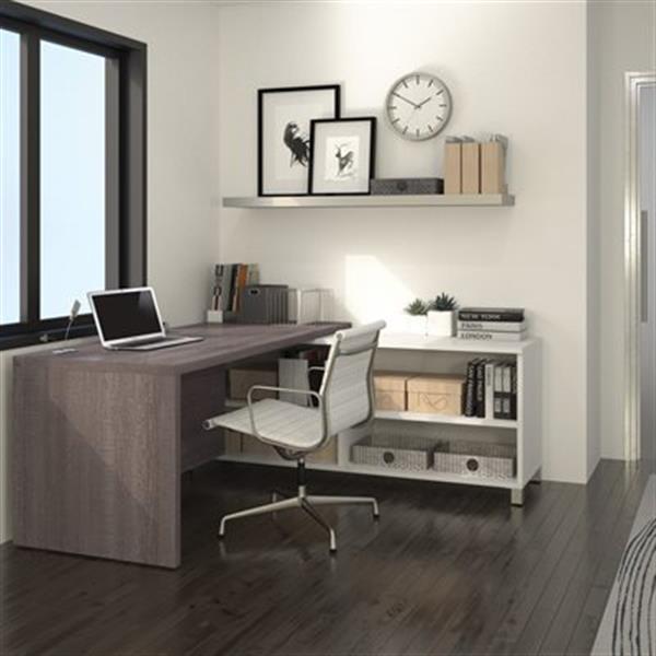 Bestar Pro-Linea 29.90-in x 71.10-in Bark Grey Return Table Credenza L-Desk