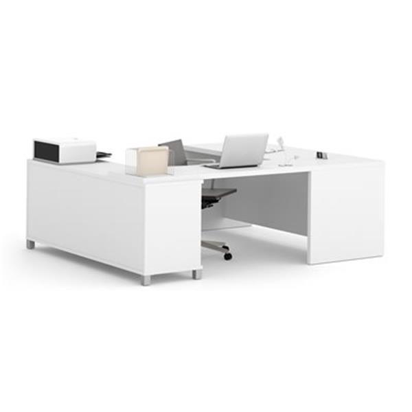 Bestar Pro-Linea Executive 29.90-in x 71.10-in White 2 Drawer Credenza U-Desk Set