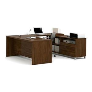 Bestar Pro-Linea Executive 29.90-in x 71.10-in Oak Barrel 2 Drawer Credenza U-Desk Set