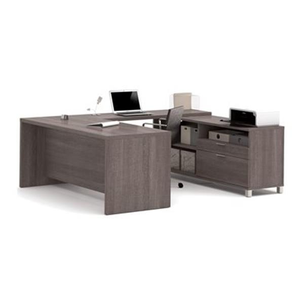 Bestar Pro-Linea Executive 29.90-in x 71.10-in Bark Grey 2 Drawer Credenza U-Desk Set