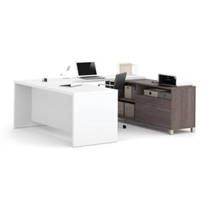 Bestar Pro-Linea Executive 29.90-in x 71.10-in White and Bark Grey 2 Drawer Credenza U-Desk Set