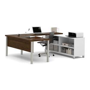 Bestar Pro-Linea 29.90-in x 71.10-in Oak Barrel and White Metal Leg Table Table Credenza U-Desk Set