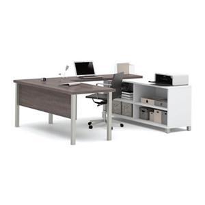 Bestar Pro-Linea 29.90-in x 71.10-in Bark Grey and White Metal Leg Table Table Credenza U-Desk Set