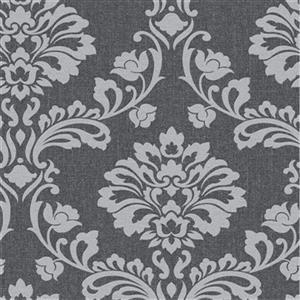 Graham & Brown 56 sq ft Black/Grey Midas Aurora Damask Unpasted Wallpaper