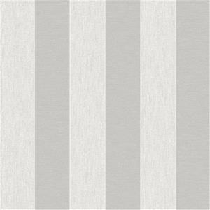 Graham & Brown 56 sq ft White/Silver Striped Unpasted Wallpaper