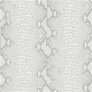 Graham & Brown 56 sq ft White/Silver Snake Skin Unpasted Wallpaper
