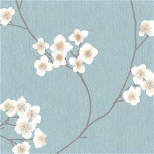 Graham & Brown 56 sq ft Blue/Cream Innocence Radiance Unpasted Wallpaper
