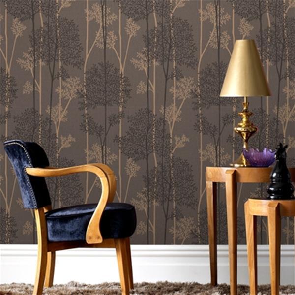 Graham & Brown Innocence 56 sq ft Chocolate/Bronze Eternal Unpasted Wallpaper