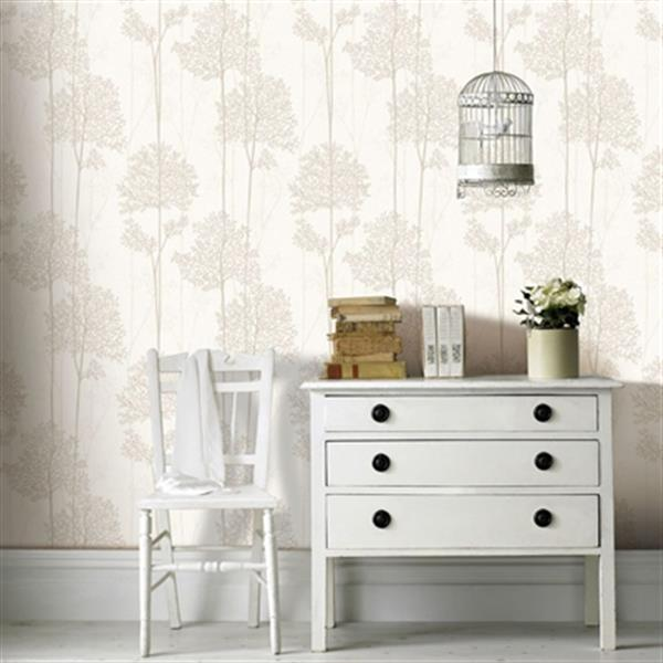 Graham & Brown Innocence 56 sq ft Cream/Gold Aura Unpasted Wallpaper