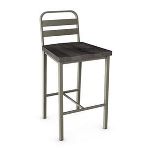 Tabouret de bar pivotant Accord 28,75 po, bois usé gris foncé, métal gris mat