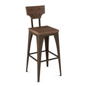 Tabouret de bar Station 30 po, bois usé brun  métal brun