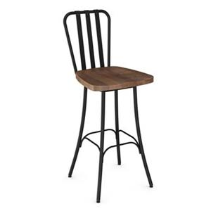 Tabouret de bar pivotant Bond 29,5 po,  bois usé brun, métal noir