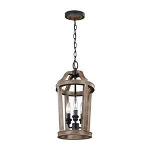 Feiss Lorenz Collection 9-in x 18.25-in Weathered Oak Cage 3-Light Foyer Light