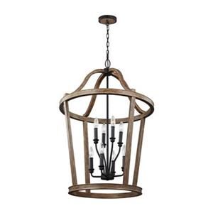 Feiss Lorenz Collection 24-in x 36.5-in Weathered Oak Cage 8-Light Foyer Light