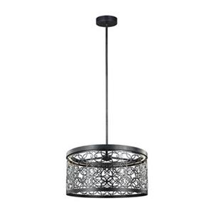 Feiss Arramore Collection 19-in x 9.62-in Dark Weathered Zinc Drum LED Pendant Light