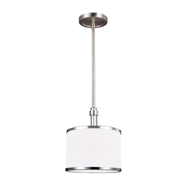 Feiss Prospect Park Collection 8.38-in x 9.62-in Satin Nickel Drum Mini Pendant Light