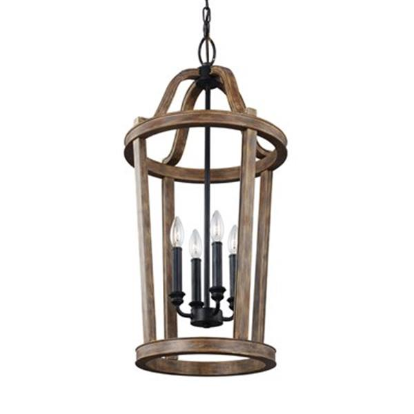 Feiss Lorenz Collection 15-in x 30.5-in Weathered Oak Cage 4-Light Foyer Light