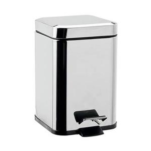 WS Bath Collections Hotellerie 9.80-in x 6.30-in Polished Chrome Aluminum Pedal Waste Basket