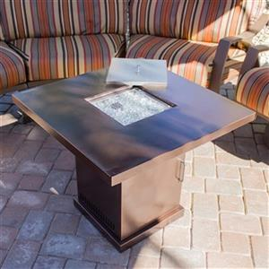 AZ Patio Heaters Square Hammered Bronze Conventional Fire Pit