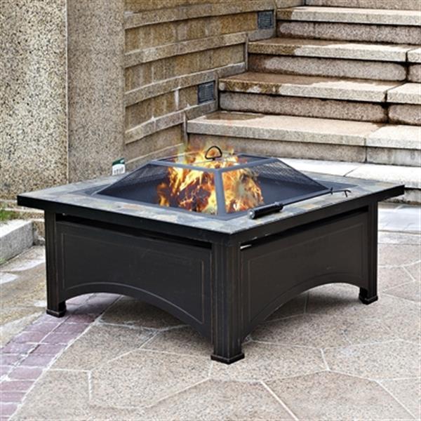 Foyer extérieur à bois avec table d'ardoise, noir