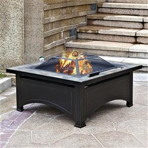 Wood-Burning Fire Pit with Slate Table - Black