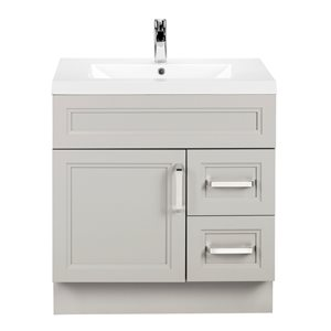 Cutler Kitchen & Bath Urban 30-in White Single Bowl 2-in Top Free Standing Bathroom Vanity