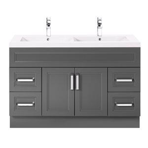 Cutler Kitchen & Bath Urban 48-in Day Break Grey Double Bowl 2-in Top Free Standing Bathroom Vanity