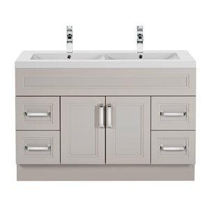 Cutler Kitchen & Bath Urban 48-in Morning Dew Grey Double Bowl 2-in Top Free Standing Bathroom Vanity
