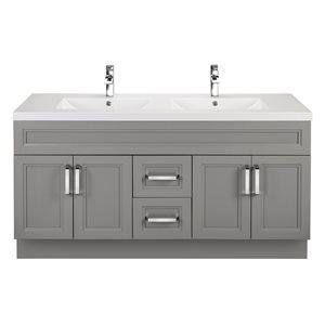 Cutler Kitchen & Bath Urban 60-in Day Break Grey Double Bowl 2-in Top Free Standing Bathroom Vanity