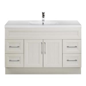 Cutler Kitchen & Bath Cottage 48-in White Sugar Bevel Shaker Free Standing Bathroom Vanity
