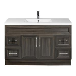 Cutler Kitchen & Bath Cottage 48-in Dark Brown Bevel Shaker Free Standing Bathroom Vanity
