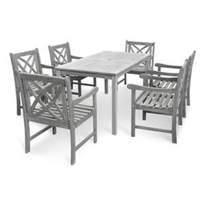 Vifah Renaissance Outdoor Hand-Scraped 7-Piece Wood Dining Set