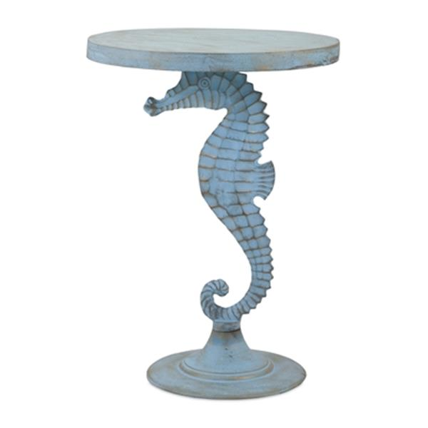 IMAX Worldwide Windsor 18-in x 25-in Distressed Sea Horse Table