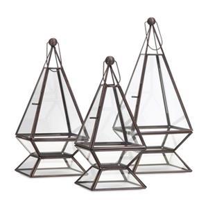 IMAX Worldwide Laurel Glass/Iron Terrariums (Set Of 3)