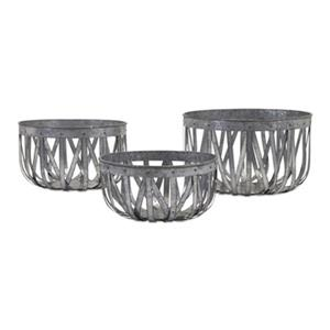 IMAX Worldwide Arlene Galvanized Baskets (Set of 3)