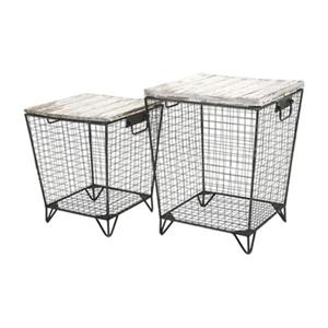 IMAX Worldwide Ava Distressed Cage Tables (Set of 2)