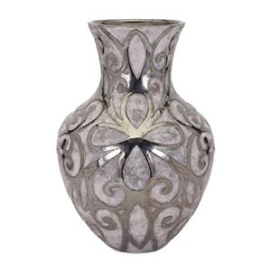 IMAX Worldwide Rowena 22-in Silver Large Earthenware Vase