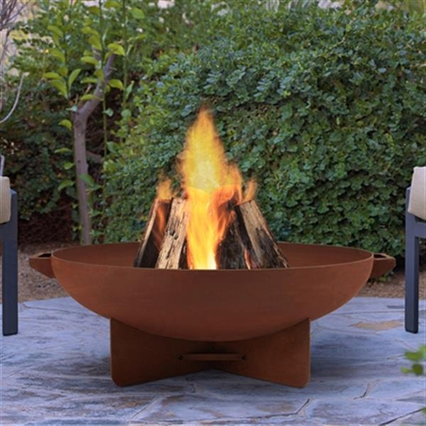 Real Flame 20.25-in x 35.50-in Rust Anson Wood Burning Fire Bowl